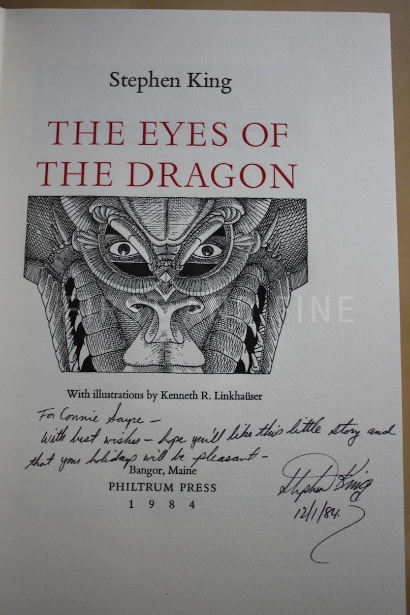 King, Stephen (1984) 'The Eyes of the Dragon', US signed limited edition,  numbered in red inscribed association copy